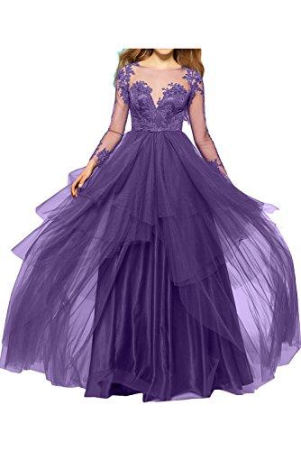 Ivydressing Violett Abendkleid schwarz lange knopf Damen Promkleid Tuell bodenlang Spitze sexuell Partykleid Applikation Aermel gedeckt 44Crwq6