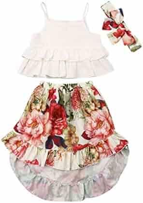 174c28b50cc0e 2Pcs Kids Baby Toddler Girl Sunflower Outfits Off Shoulder Crop Tops +  Skirt Clothes Set