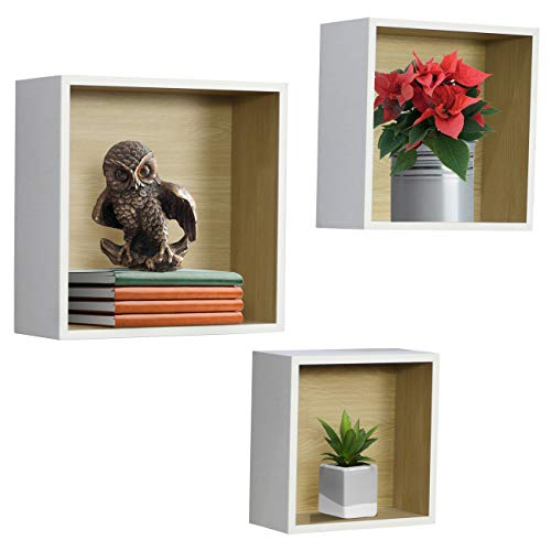 Sorbus Floating Shelf Square Cube Set — Wall Mounted Shelves, Decorative Hanging Display for Collectibles, Photos Frames, Plants, etc. (Set of 3 – White)