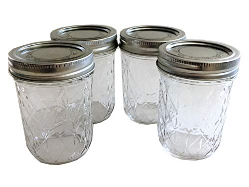 Mason Ball Jelly Jars-8 oz. each - Quilted Crystal Style-Set of 4 by Ball (Image #1)