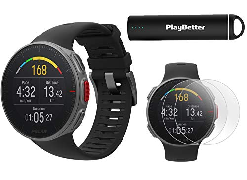 Polar Vantage V Pro (Black) Power Bundle with PlayBetter Portable Charger & HD Screen Protectors (4-Pack) | GPS & Barometer | Heart Rate, Multisport Watch