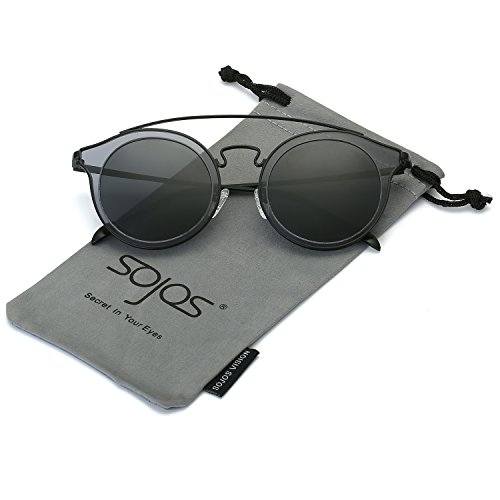 SojoS Classic Mens Womens Double Metal Bridge Round Sunglasses SJ2024 With Black Frame/Grey - Long Nose For Sunglasses