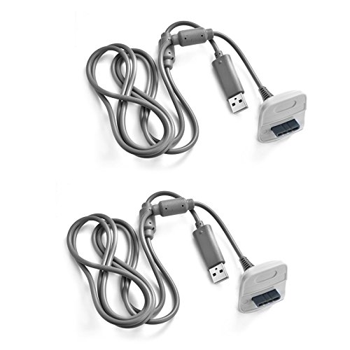 SunTrade 2 PCS USB Charging Cable USB Charger For Xbox 360 Wireless Game Controller (2 pcs, Gray) by Sun-trade