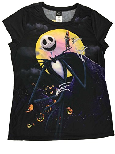 Nightmare Before Christmas Junior Womens Jack Skellington Halloween T-Shirt M Black]()