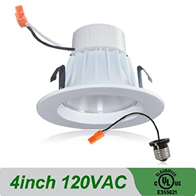 4 Inch, 9 Watt LED Dimmable Recessed Light with Integrated Trim, 2700K color temprature is warm and inviting. By Lighteneer. Warm White. 70% Energy Saving. UL Listed. Easy Retrofit.
