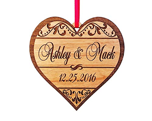 Name Personalized Ornament (Custom-Engraved-Glasses-by-StockingFactory Personalized Heart Love Christmas Ornament Gfit for Anniversary, Valentines Day, Christmas, Pet, Engagement, Babys First, Couples Mom Dad, Fiance, Wedding)