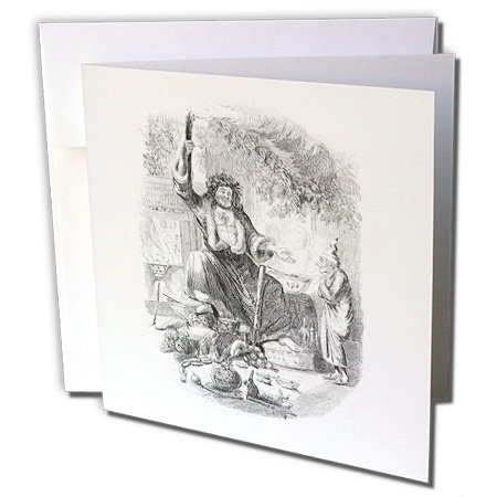 1 Sketch Card (3dRose Black n White Vintage Sketch Of Dickens Christmas - Greeting Cards, 6 x 6 inches, set of 6 (gc_80455_1))