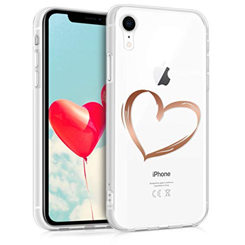r Apple iPhone XR - Soft TPU Silicone Cover - Crystal Clear Back Case IMD Design - Rose Gold/Transparent ()