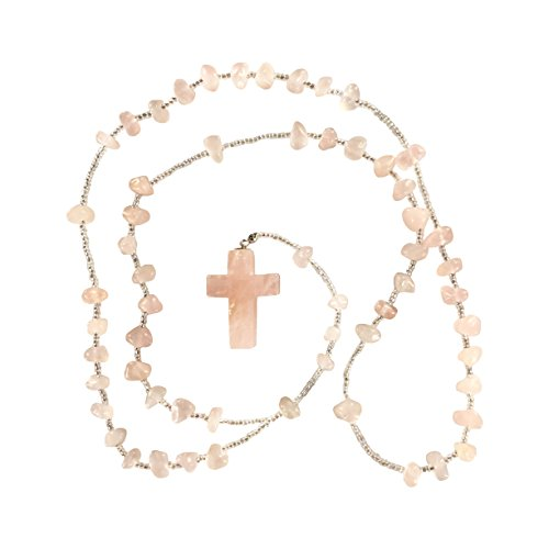 Rose Quartz Rosary Crystal Clear Miracles Healing Prayer Bead Necklace Cross Pendant Powerful Unique Gift (Unique Gift Card Presentation)