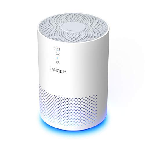 LANGRIA Compact Air Purifier with 3 Stage Filtration with True HEPA Filter, Portable Air Cleaner, Plug-in Dust Smoke Odor and Pet Dander Cleaner, Powerful and Silent 110 V (Model:EPI080, White)