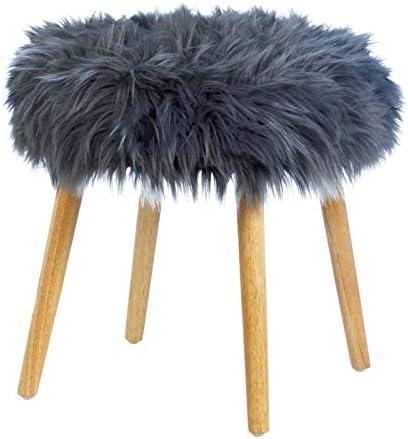 Accent Plus Gray Faux Fur Stool 17.75×17.75×17.25