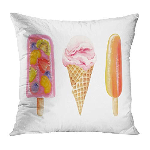 Suike Throw Pillow Cover Ice Cream Collection Lolly Fruits Hidden Zipper Home Sofa Decorative Cushion Case 18x18 Inch Square Printed Pillowcase]()