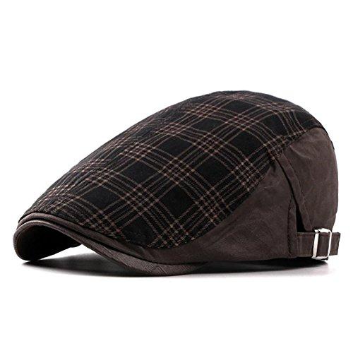 Checker Cap Hat - LOCOMO Checker Check Plaid Tartan Newsboy Flat Cap FFH363BRN