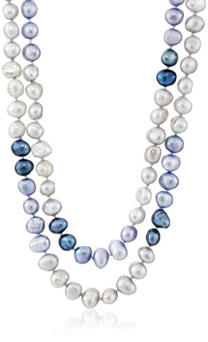 6-7mm Dyed Blue Color Block Baroque Freshwater Cultured Pearl Endless Necklace, 50