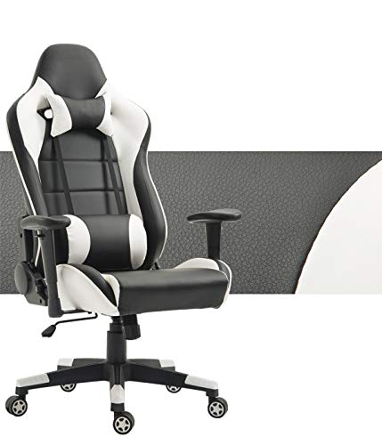 Computer Gaming Chair High Back Game Chair Office Chair PU Leather Desk Chair PC Racing Executive Ergonomic Adjustable Swivel Task Chair with Headrest and Lumbar Support (White/Black)