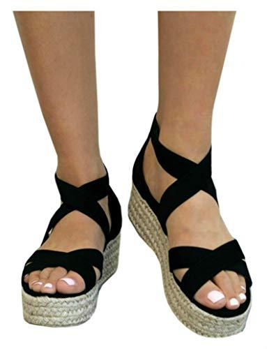 Ankle Wrap Platform Heel Chunky - LAICIGO Womens Ankle Wrap Espadrille Flat Sandals Summer Lace up Platform Sandals