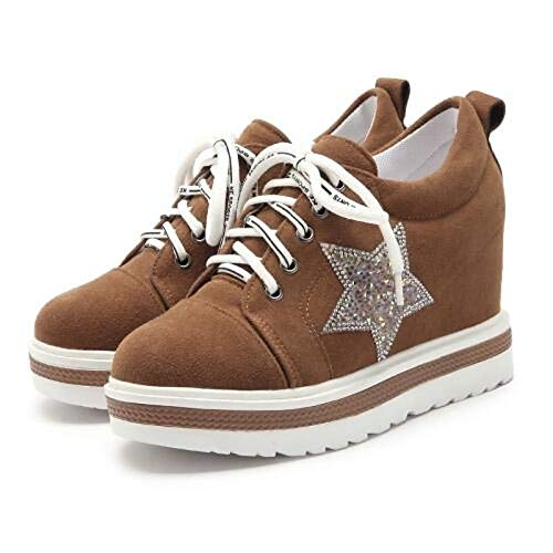 Zhznvx Mujer Oscuro Spring Round Zapatos Toe De Brown Creepers tzwFfgqY