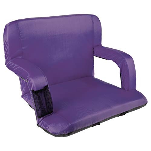 (Home-Complete Wide Stadium Seat Chair Bleacher Cushion with Padded Back Support, Armrests, 6 Reclining Positions and Portable Carry Straps (Purple))