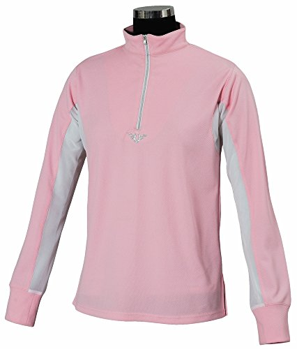 TuffRider Children's Ventilated Technical Long Sleeve Sport Shirt with Mesh, Petal Pink, Small (Shirt Textured Mesh Polo)