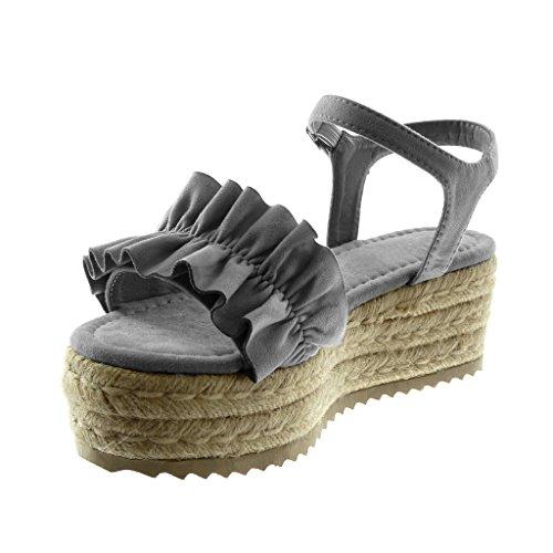 535f0b1032ba Angkorly Damen Schuhe Sandalen Mule - Knöchelriemen - Plateauschuhe - mit  Rüschen - Seil - Geflochten ...