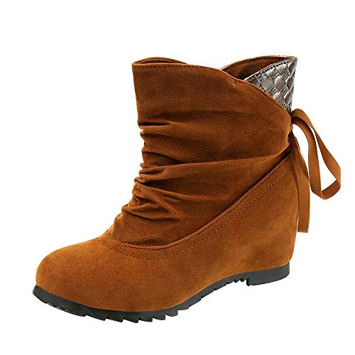 JiaMeng Mujeres Totalmente Alineada Botas de la Nieve del Invierno Botas Planas Low Slip-On Wedges Botines Informal Zapatos Boots: Amazon.es: Ropa y ...