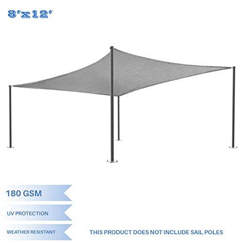 E&K Sunrise 8' x 12' Light Grey Sun Shade Sail Square Canopy - Included Pad Eyes -Permeable UV Block Fabric Durable Patio Outdoor ()