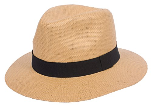 (DRY77 Summer Cool Outback Panama Wide Large Brim Fedora Straw Hat Men Women, Light Brown, LXL)