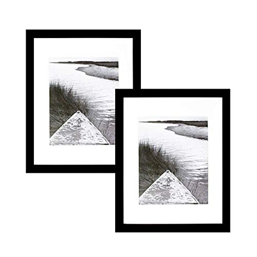 BLACK 11x14 Photo Wood Frame with Mat (2 frames per - Frame Mat And