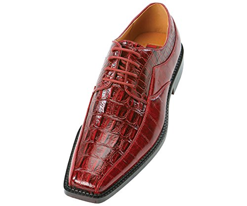 Bolano The Original Mens Red Exotic Shiny Croco Hornback Printed Oxford Dress Shoe : Style 6720-005