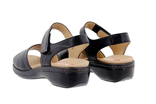 Calzado mujer confort de piel Piesanto 1801 Sandalia Plantilla Extraíble cómodo ancho Negro