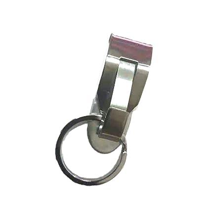 Xiton Acero Inoxidable Llavero Hebilla de cinturón Clip Llave Clave de Carrier con bucles Primavera Llavero de 1PC (Random)