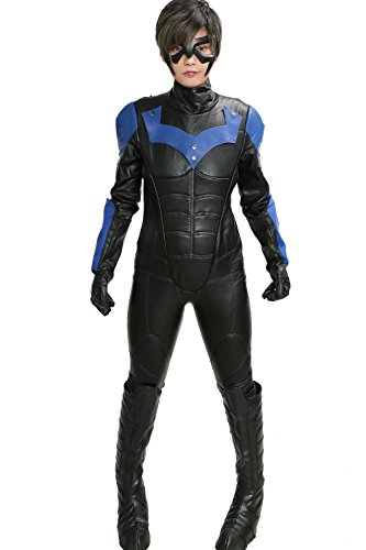 [Nightwing Costume Deluxe PU Leather Outfit Adult Cosplay Custom Suit Xcoser S] (Nightwing Halloween Costumes)