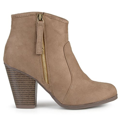 (Brinley Co. Womens Faux Suede High Heel Ankle Boots Taupe, 8.5 Regular US)