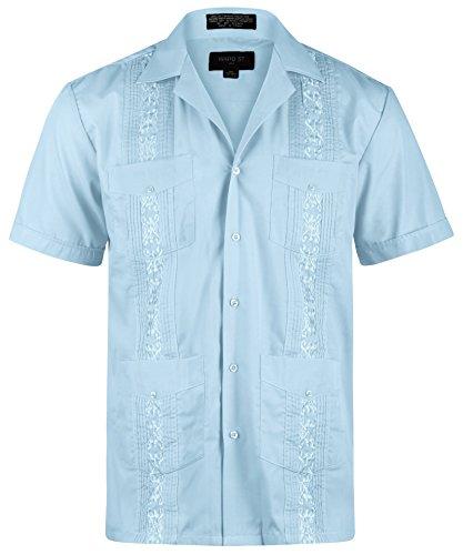 - Ward St Men's Short Sleeve Cuban Guayabera, XL, 17-17.5N, Light Blue