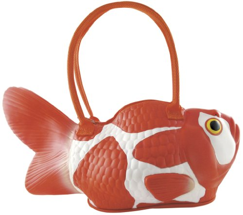 Rubber koi fish tote bag handbag purse orange and white for Koi fish purse