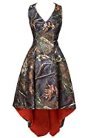 LEJY Women's Halter Hi-Lo Camo Bridesmaid Dresses Camoflage Wedding Party Gowns