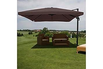 Luxus Sonnenschirm Solar LED Beleuchtung Ampelschirm 300 cm Garten Schirm Grau