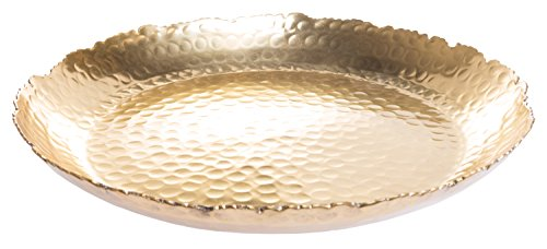 Golden Round Plate With Rough Edges, 13 Inch - Edge Round Bowl