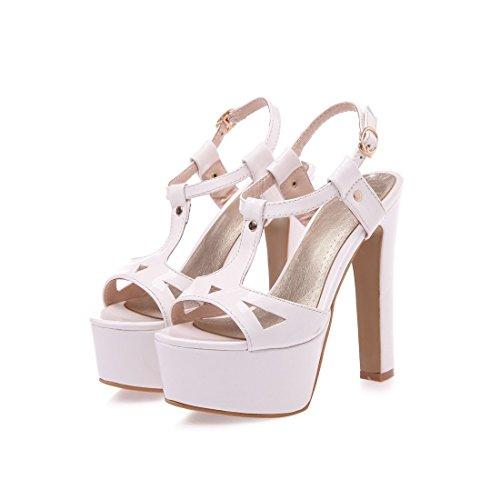 Damen Thick Absatz Plattform Lackleder Sommer Sandalen Schwarz Pumps Schuhe Weiß