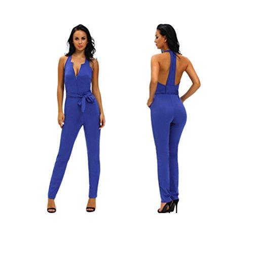 Erica Mujeres halter overoles cuello v sin mangas anchos de la pierna lazo cintura playsuit mamelucos BLUE-M