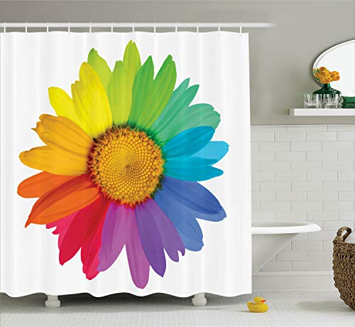 Ambesonne Flower Shower Curtain, Rainbow Colored Sunflower or Daisy Spring Inspired Image Hippie Style Modern Design, Cloth Fabric Bathroom Decor Set with Hooks, 70