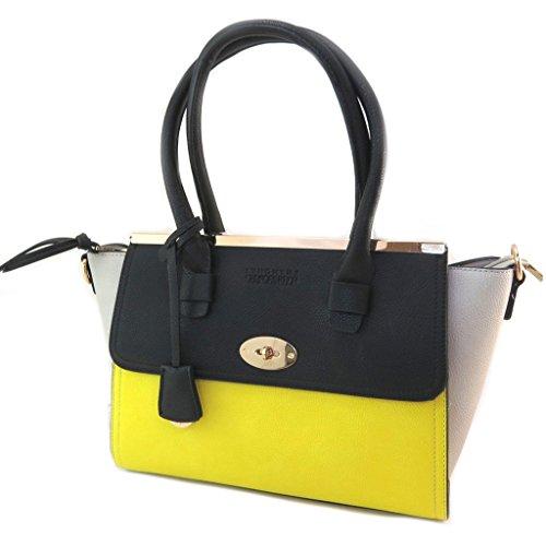 Creador bolsa 'Georges Rech'negro gris amarillo - 39x23x14 cm.