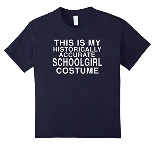 Last Minute School Girl Costume - Kids My Historical Schoolgirl Costume: Funny Halloween T-Shirt 12 Navy