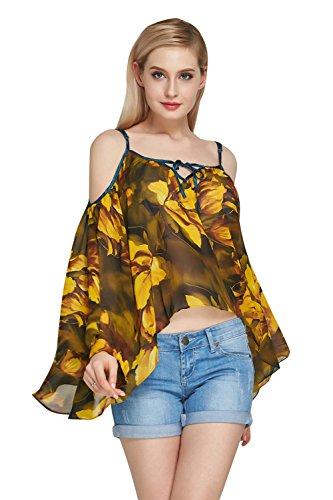 ログエンドテーブル休憩4色選べる レディース ファッション シフォン Tシャツ 肩出し ブラウス かわいい 花柄 シースルー カジュアル オフショルダー トップス