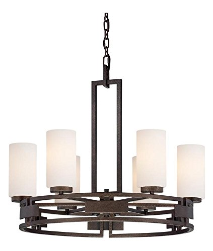 Flemish Bronze 6 Light Up Lighting Chandelier from the Del Ray Collection ()