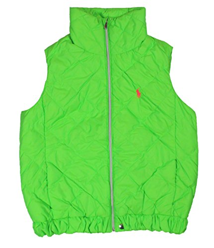 Ladies Signature Quilted Vest (Ralph Lauren Polo Womens Quilted Pony Down Puffer Vest Neon (Medium, Neon Green))