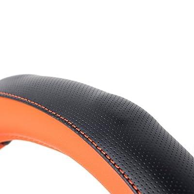 AOTOMIO Black & Orange Car Steering Wheel Cover TPE Material Durable Non-slip Cover Universal 15 inch: Automotive