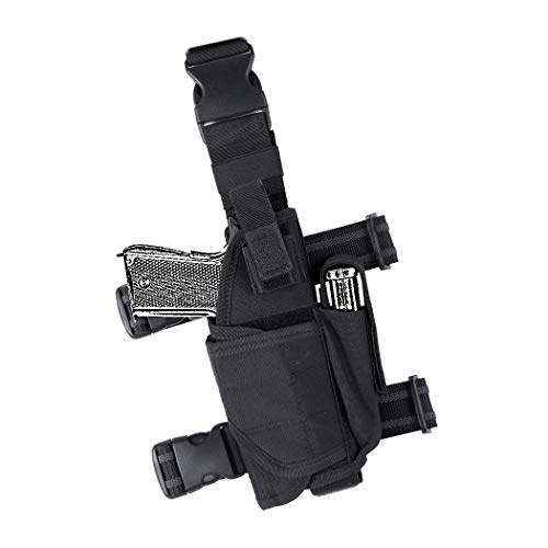 (IDOGEAR Tactical Pistol Thigh Gun Holster Drop Leg Holster Adjustable Pistol Carrier with 9mm Mag Pouch for Right Handed Universal Gun Holster Leg Harness 500D Nylon)