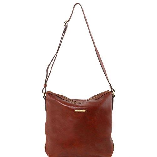 Tuscany Leather Alice Bolso Shopping de señora en piel - Tamaño grande Miel Bolsos de asa larga Marrón oscuro