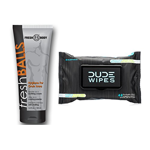 Man Bundle - 1 Fresh Balls Lotion [3.4 oz tube] + 1 CRIB Edition Dude Wipes [48 count] Dispenser Pack